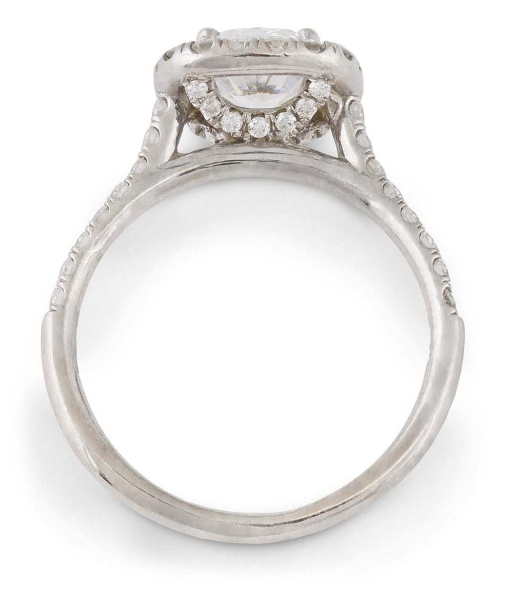 Cushion Diamond Halo Engagement Ring - Top