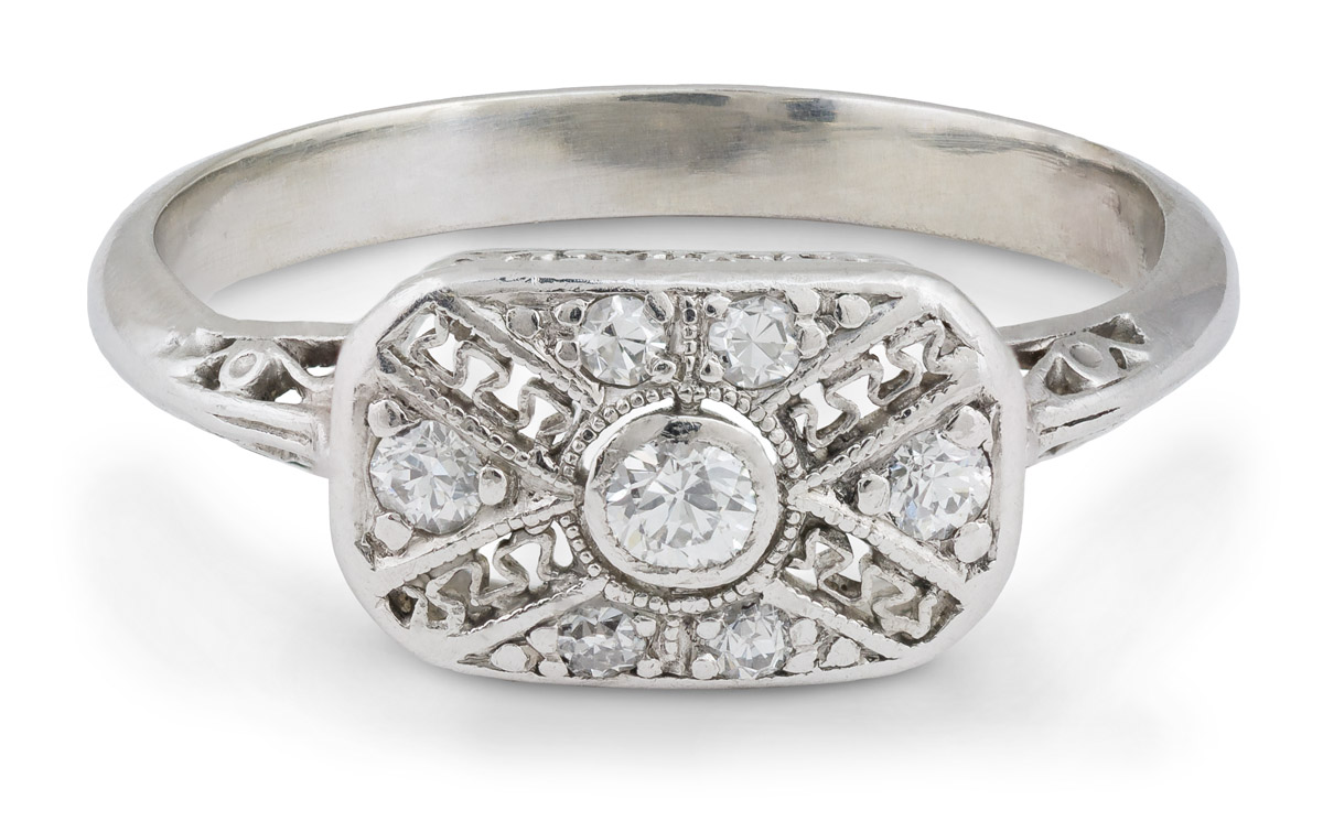 Art Deco Era Filigree Ring with Old European Diamonds