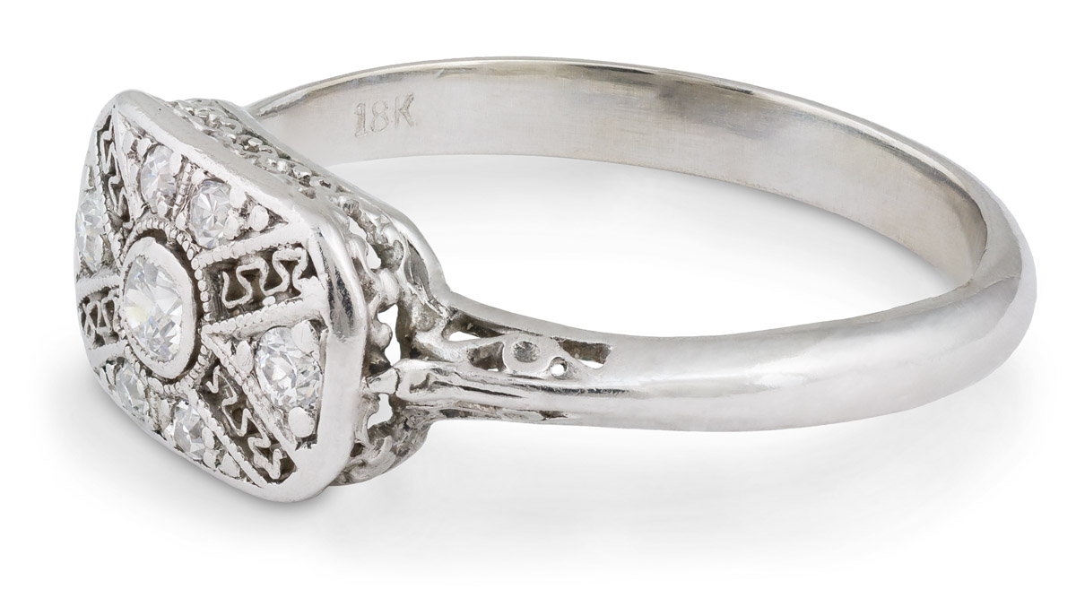 Art Deco Era Filigree Ring with Old European Diamonds - Side