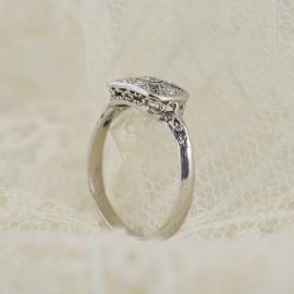 Art Deco Era Filigree Ring with Old European Diamonds - Side