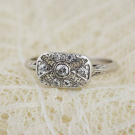 Art Deco Era Filigree Ring with Old European Diamonds - Front