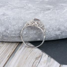 Vintage Filigree Garnet Bezel Solitaire - Top