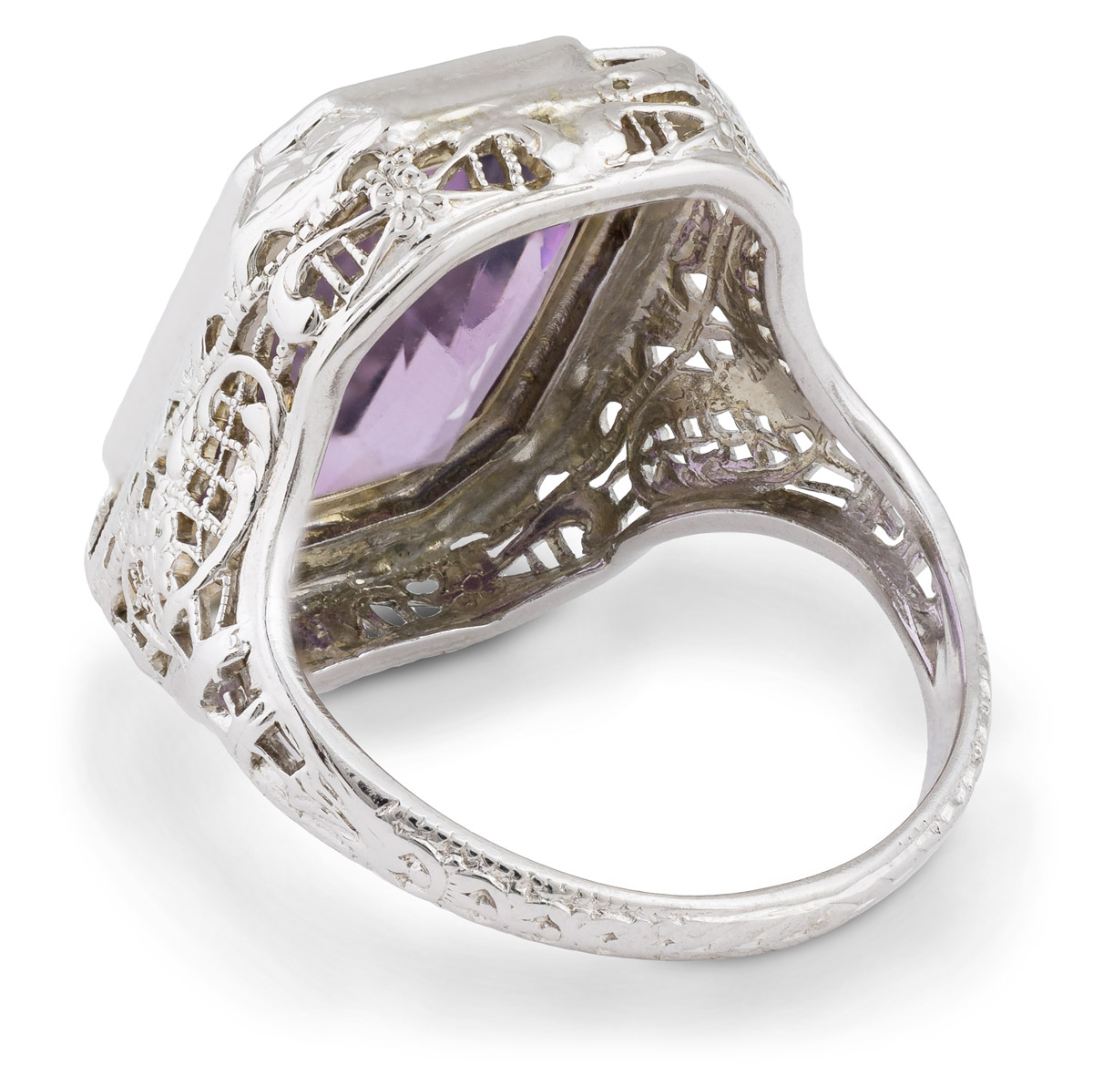 Vintage Filigree Amethyst Solitaire - Back