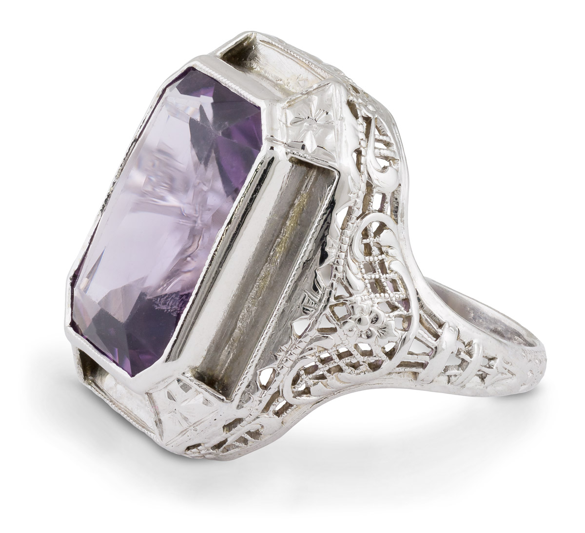 Vintage Filigree Amethyst Solitaire - Side