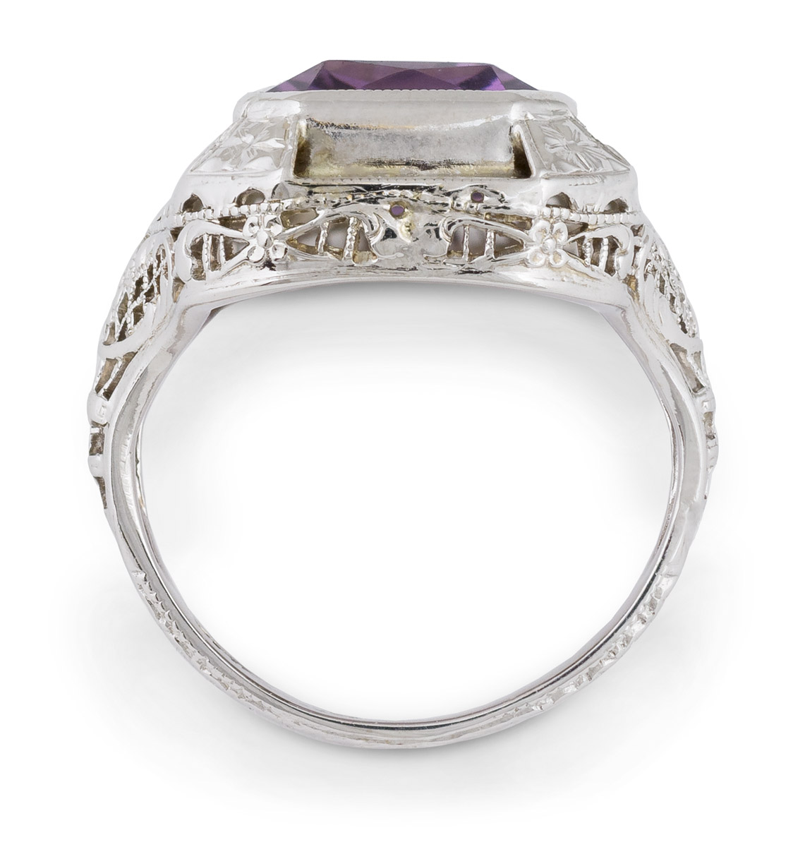 Vintage Filigree Amethyst Solitaire - Top