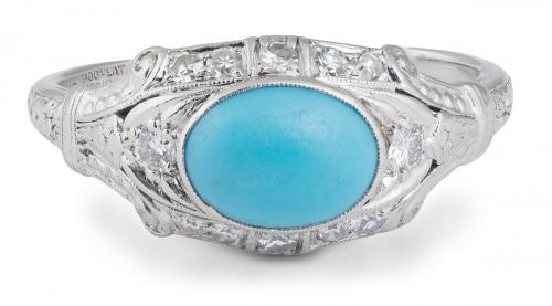 Vintage Turquoise Ring with Diamond Accents
