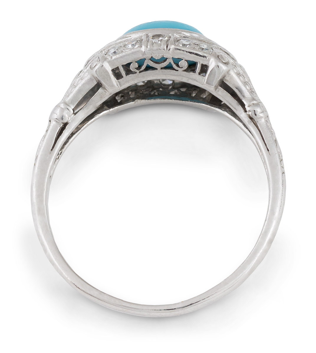 Vintage Turquoise Ring with Diamond Accents - Top