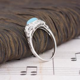 Vintage Turquoise Ring with Diamond Accents - Side Tilt