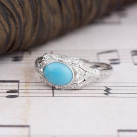 Vintage Turquoise Ring with Diamond Accents - Front