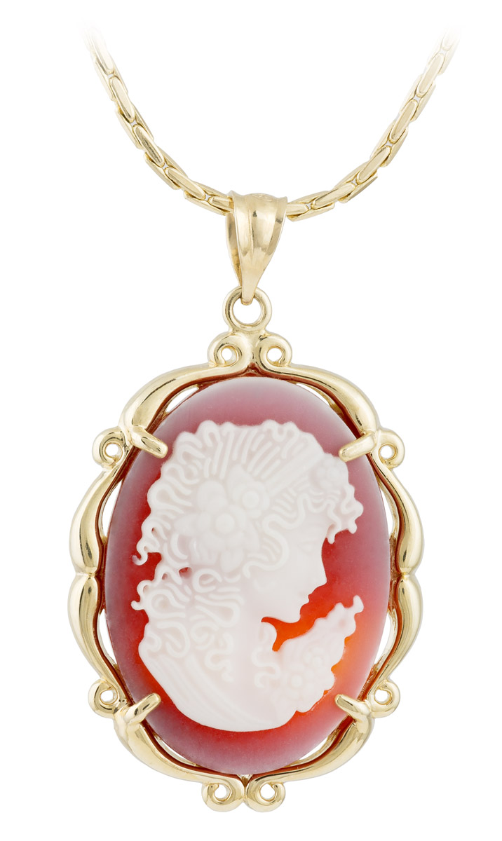 Vintage Carved Shell Cameo Pendant