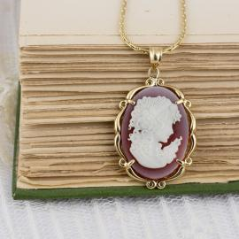 Vintage Carved Shell Cameo Pendant - 1