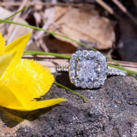 Cushion Diamond Halo Engagement Ring - 1