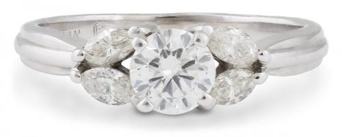 Diamond Engagement Ring with Marquise Accents