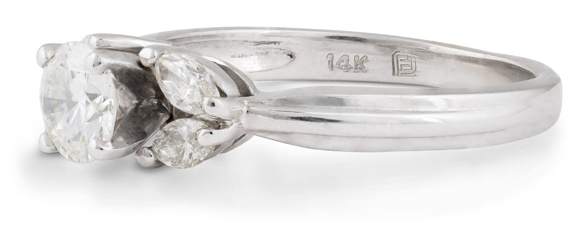 Diamond Engagement Ring with Marquise Accents - Side
