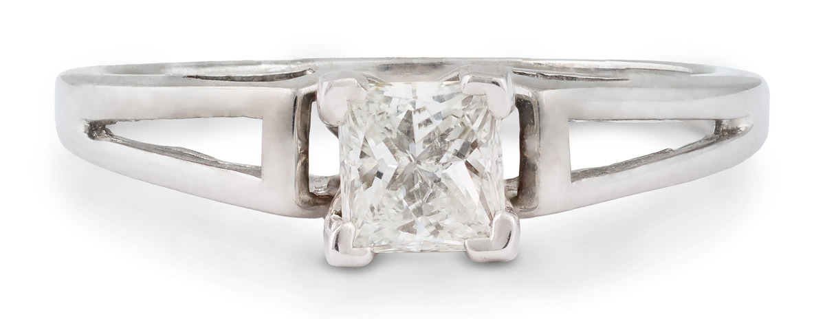 Princess Diamond Solitaire Engagement Ring with Openwork