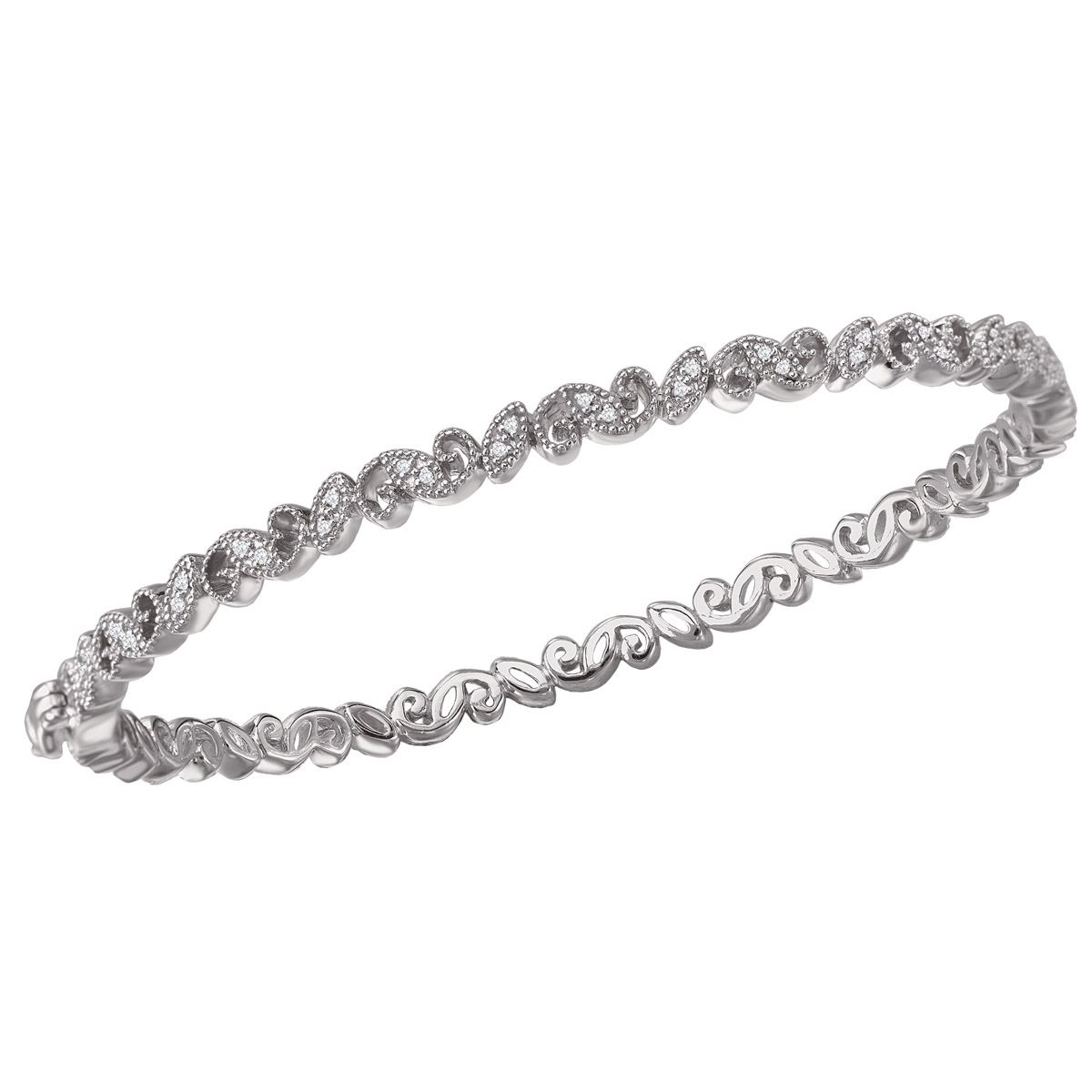 Diamond Filigree Bangle with Clasp