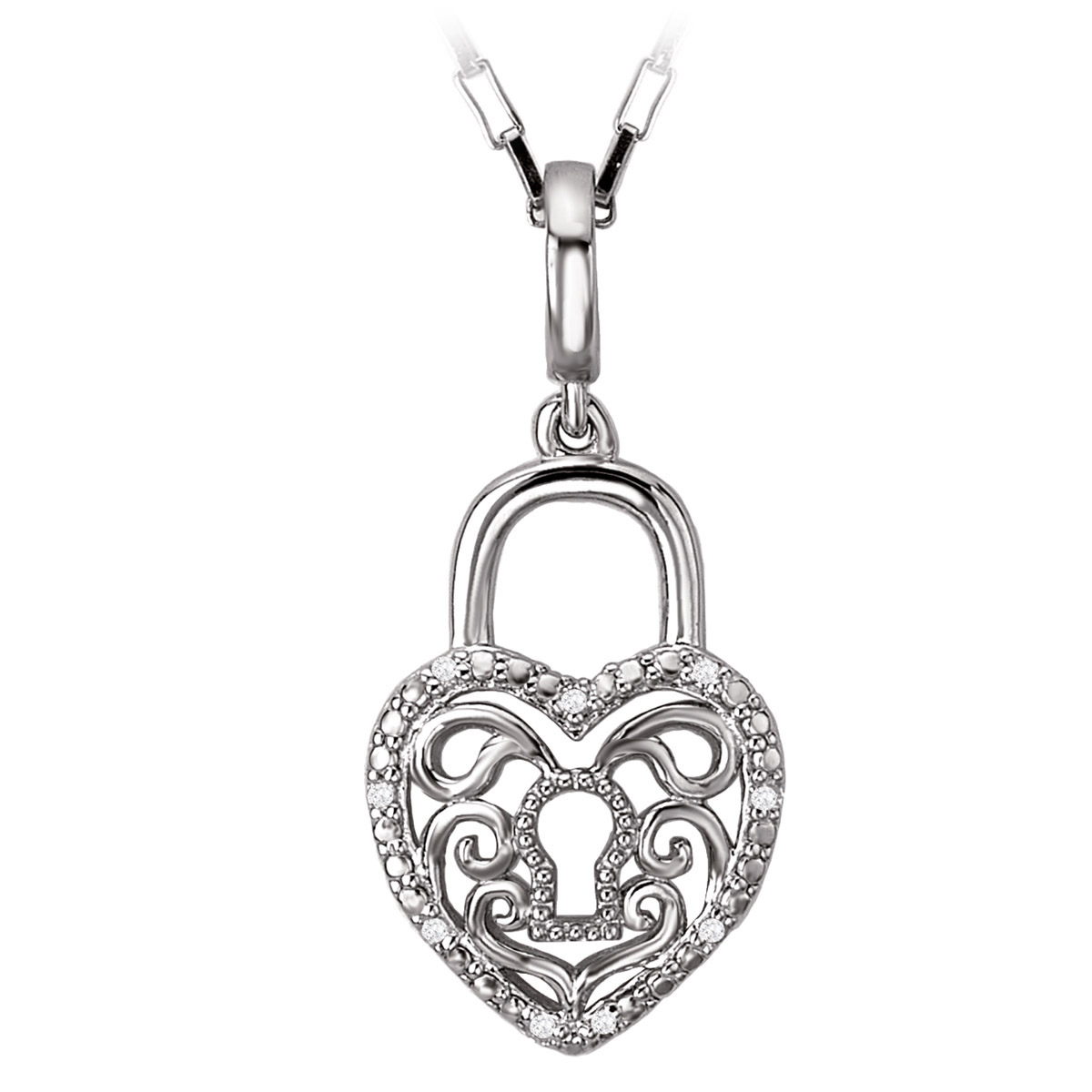 Heart Lock Pendant with Diamond Accents