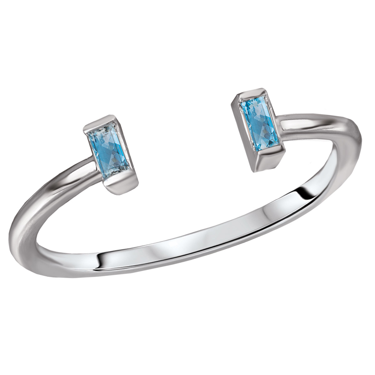 Blue Topaz Open Shank Cuff Ring