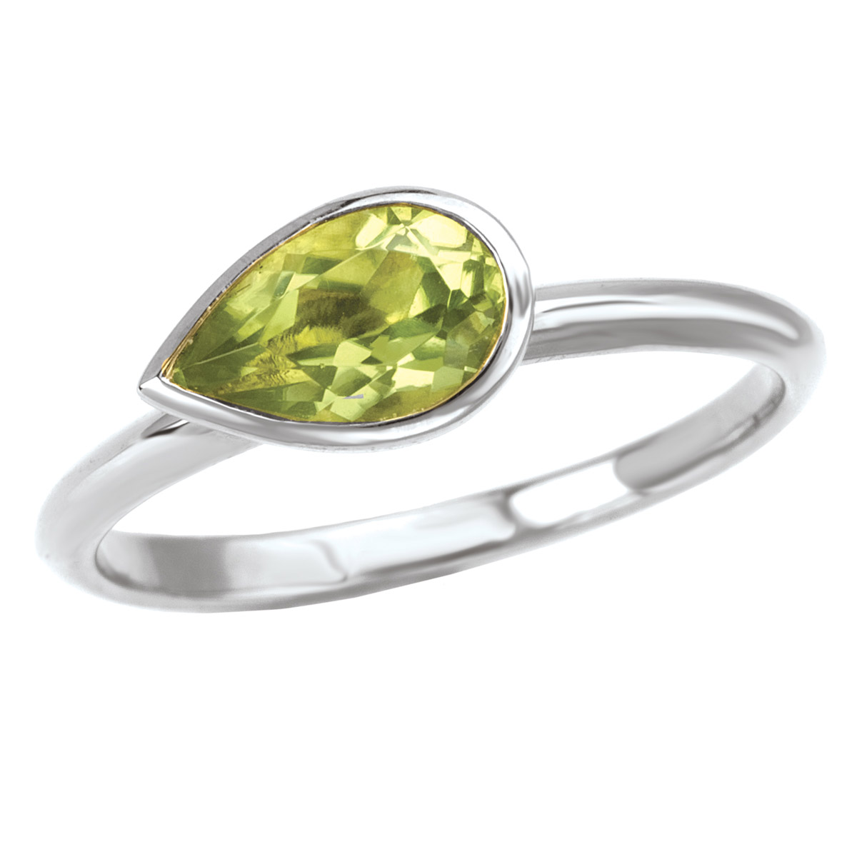 Peridot Bezel Solitaire Ring
