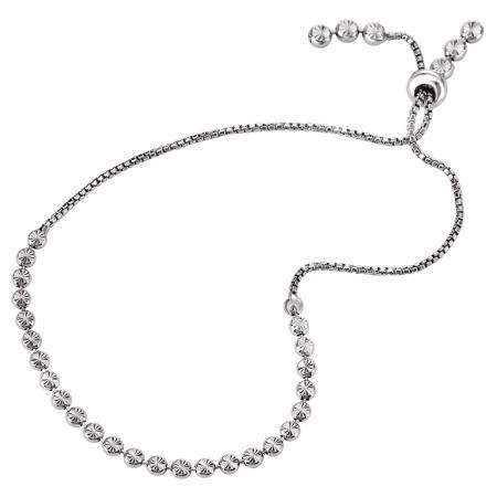 Diamond Cut Bead Slider Bracelet