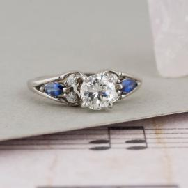 Diamond Engagement Ring with Marquise Sapphire Accents - 1