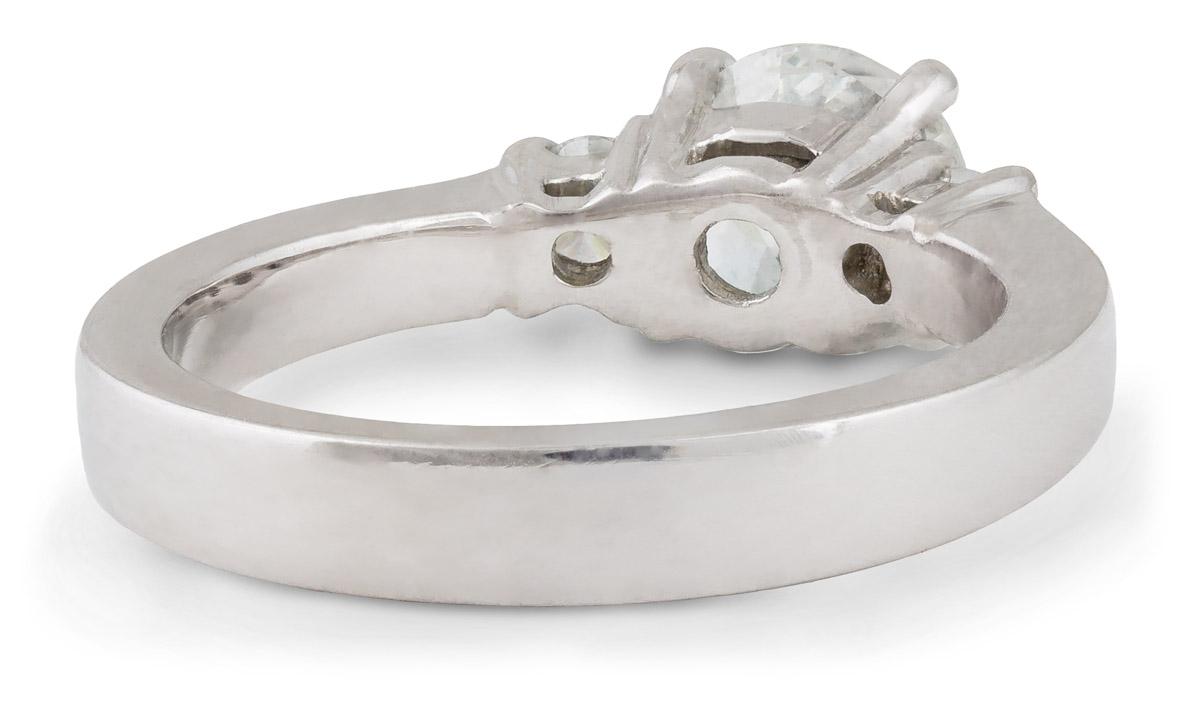 Tapered Shank Three Stone Diamond Engagement Ring - Back