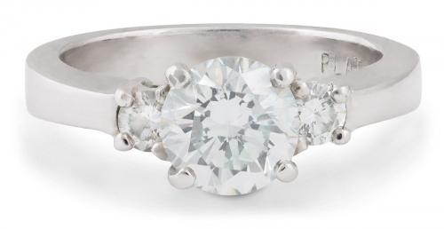 Tapered Shank Three Stone Diamond Engagement Ring