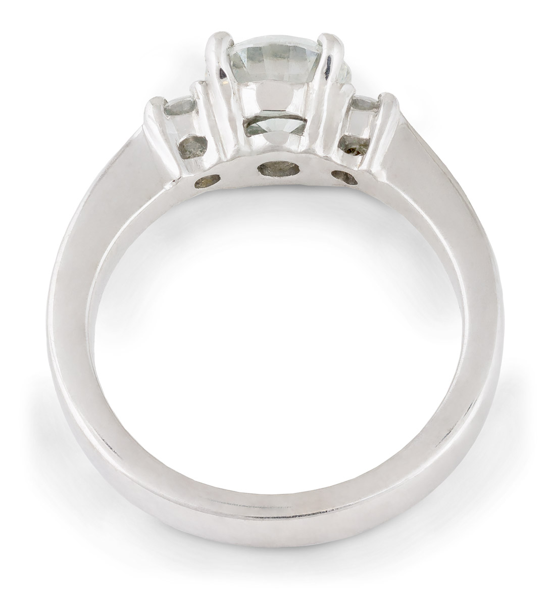 Tapered Shank Three Stone Diamond Engagement Ring - Top