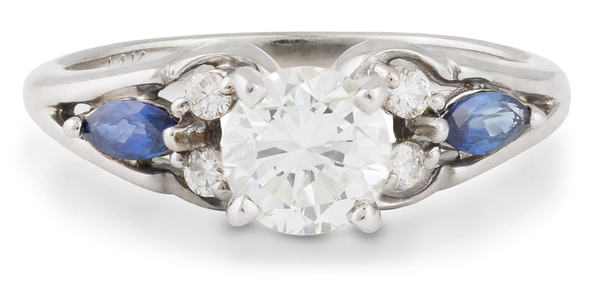 Diamond Engagement Ring with Marquise Sapphire Accents