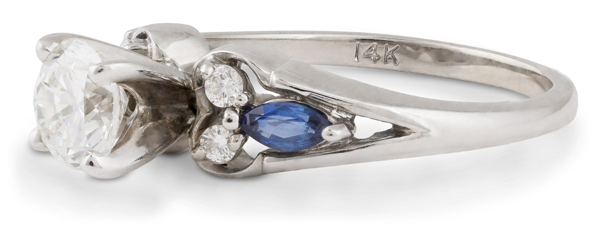 Diamond Engagement Ring with Marquise Sapphire Accents - Side