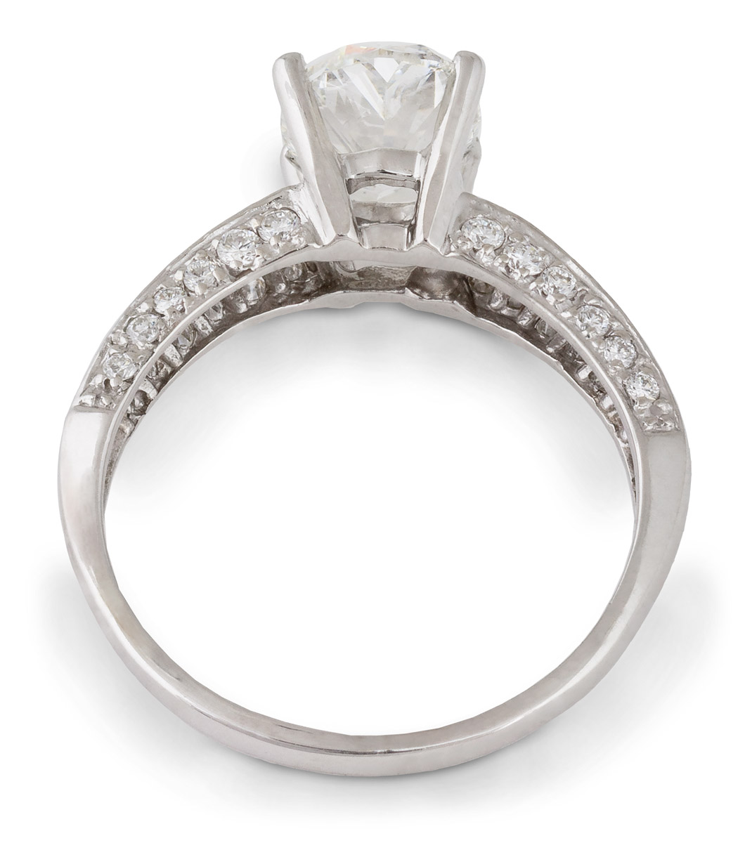 Oval Diamond Engagement Ring with Round Brilliant Diamond Accents - Top