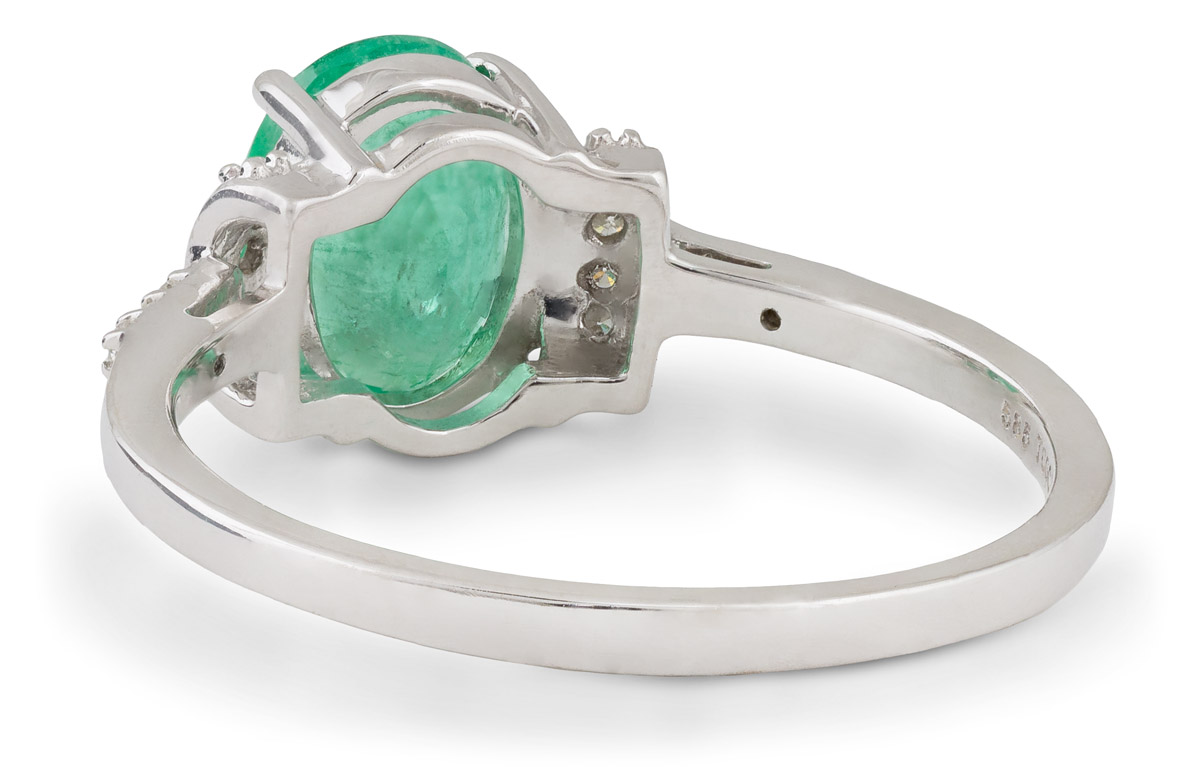 Oval Emerald Ring with Diamond Accents - Back