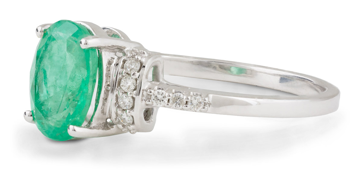Oval Emerald Ring with Diamond Accents - Side