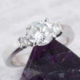 Tapered Shank Three Stone Diamond Engagement Ring - 2