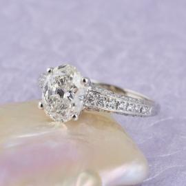 Oval Diamond Engagement Ring with Round Brilliant Diamond Accents - 1