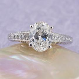 Oval Diamond Engagement Ring with Round Brilliant Diamond Accents - 2