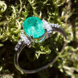 Oval Emerald Ring with Diamond Accents - 1