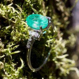 Oval Emerald Ring with Diamond Accents - 2