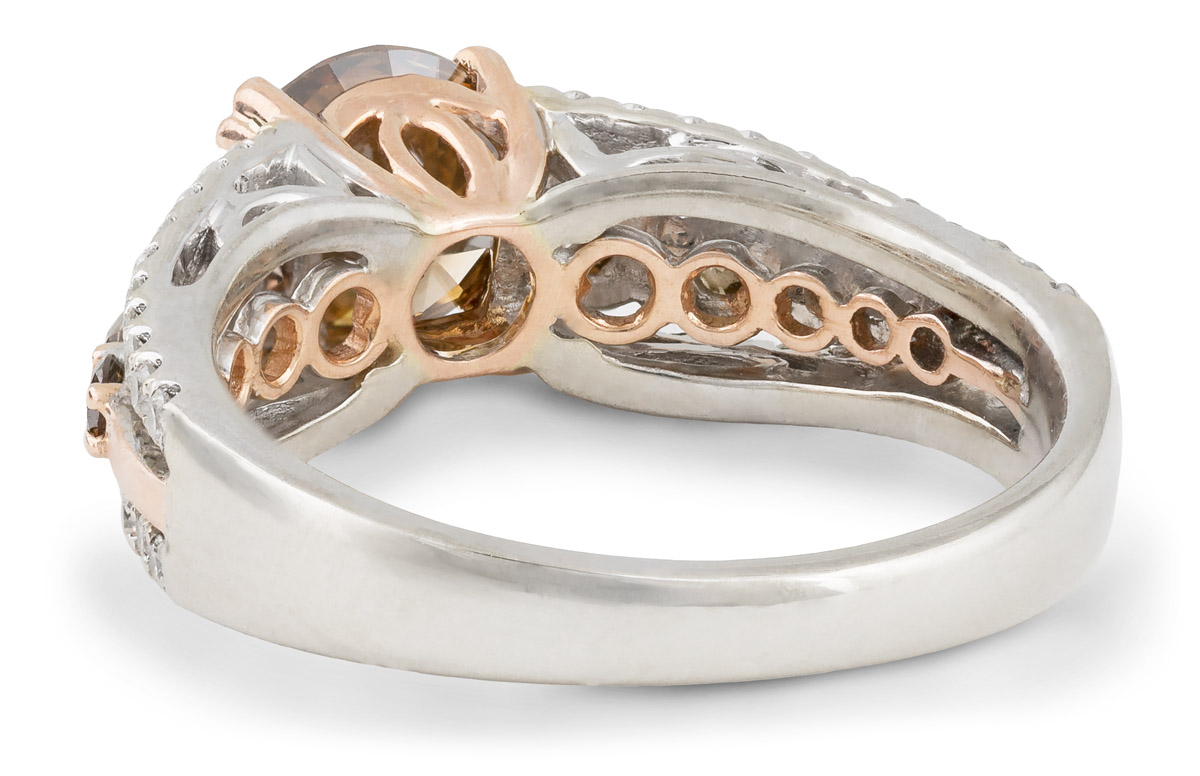 Chocolate Diamond Ring with White Diamond Accents - Back