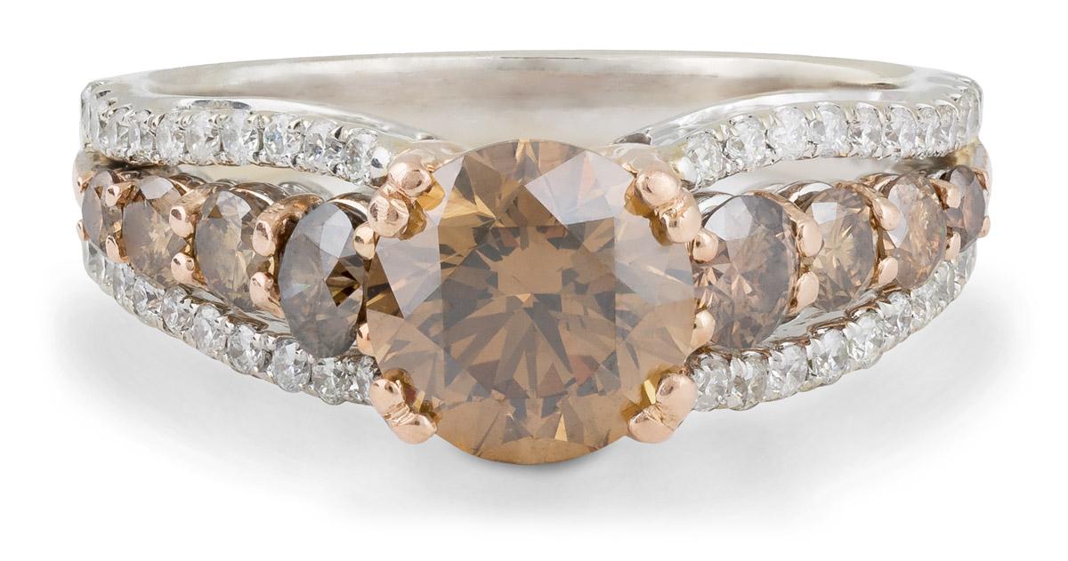 Chocolate Diamond Ring with White Diamond Accents