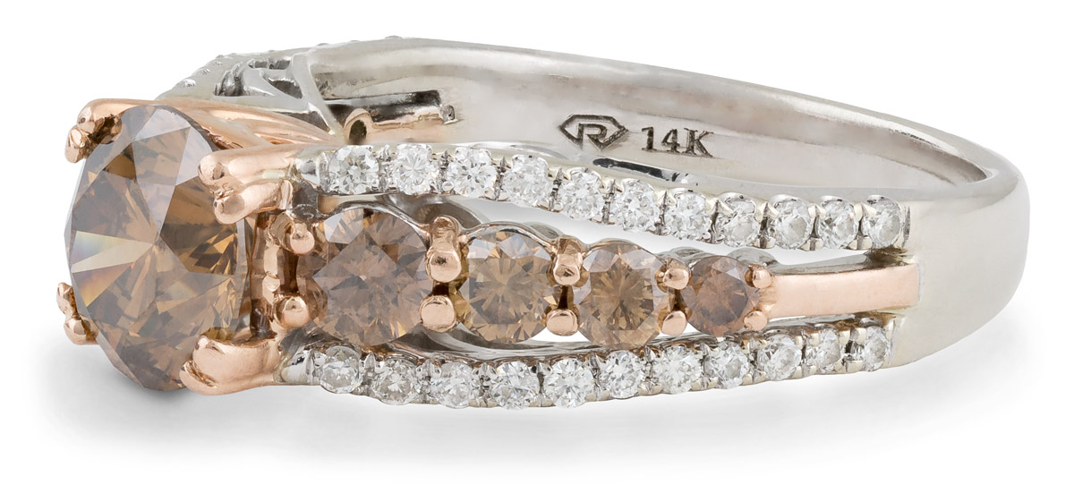 Chocolate Diamond Ring with White Diamond Accents - Side