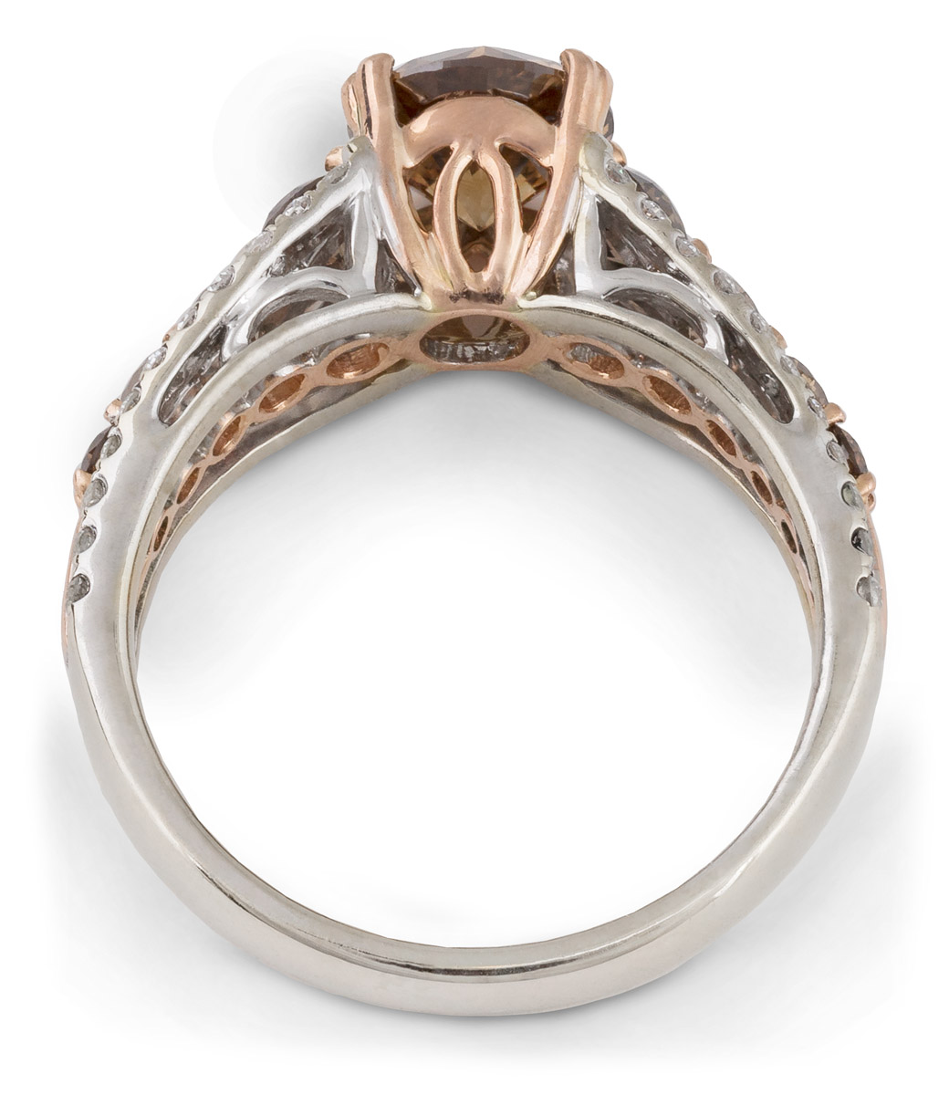 Chocolate Diamond Ring with White Diamond Accents - Top