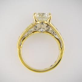 Custom filigree two tone diamond engagement ring