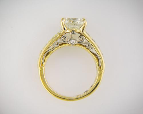 Custom filigree two tone diamond engagement ring