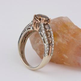 Chocolate Diamond Ring with White Diamond Accents - 1