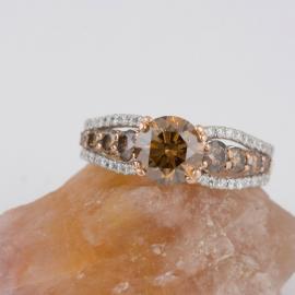 Chocolate Diamond Ring with White Diamond Accents - 2
