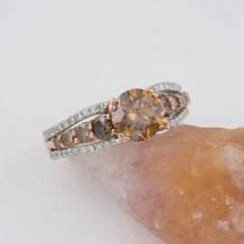 Chocolate Diamond Ring with White Diamond Accents - 3