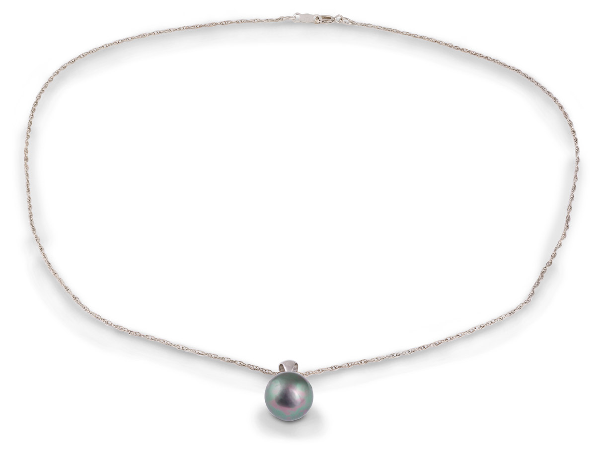Tahitian Black Pearl Drop Pendant - Full