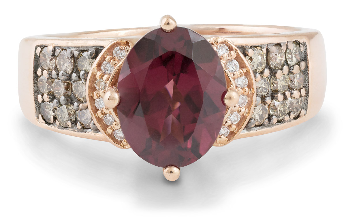Rhodolite Garnet Ring with Champagne Diamond Accents