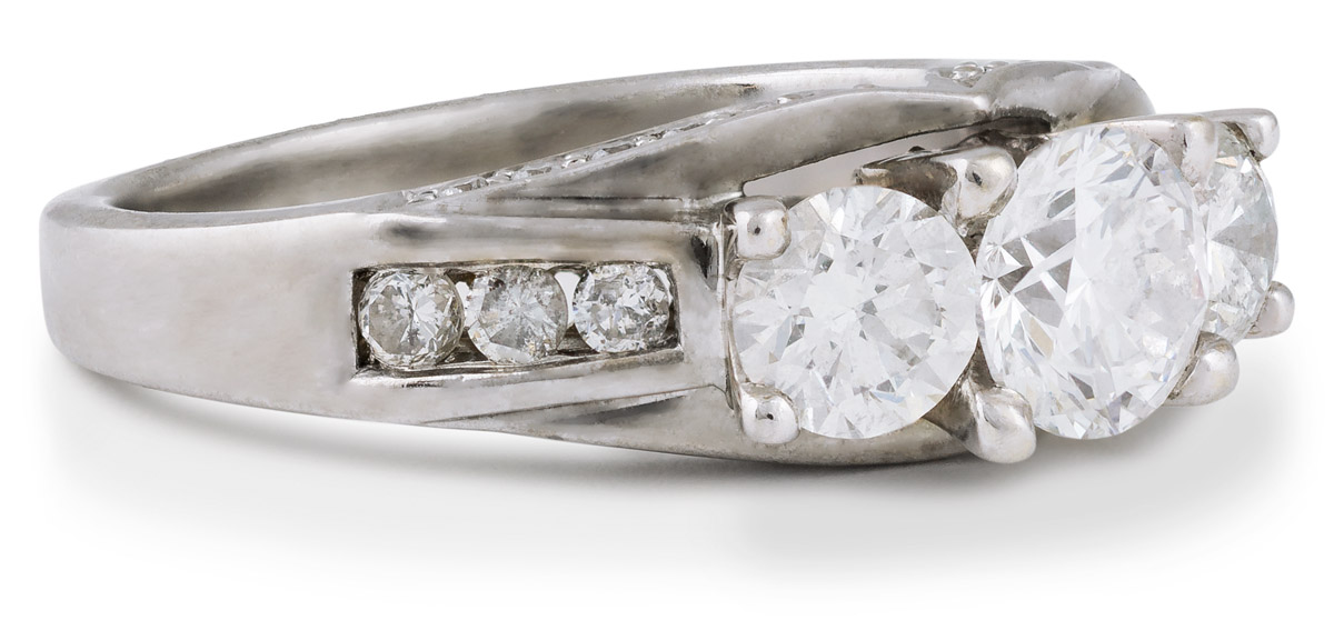 Diamond Engagement Ring with Diamond Accents - Side